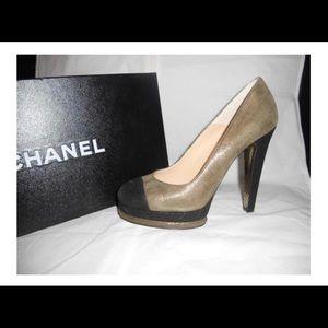Chanel khaki/black suede quilted platform heels